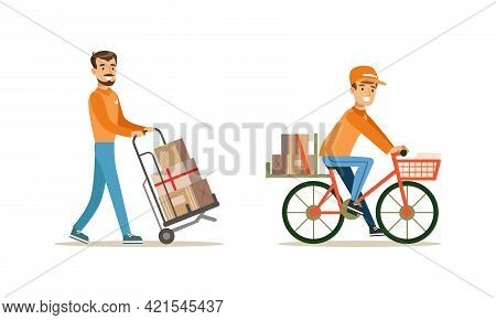 Male Courier Carrying Boxes Set, Delivery Men Characters In Uniform Delivering Parcels Using Cart An
