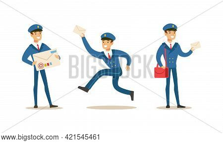 Postman Delivering Correspondence Set, Mailman Character In Uniform Carrying Letters, Newspapers And