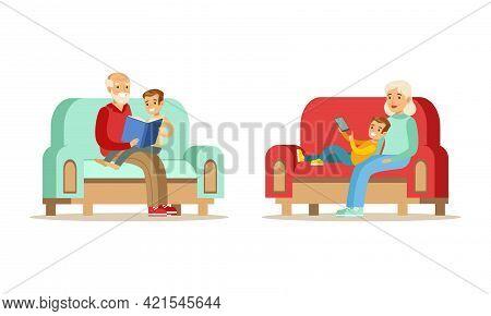 Grandparents Spending Time With Grandchildren Set, Grandpa And Grandma Reading Book To Their Grandso