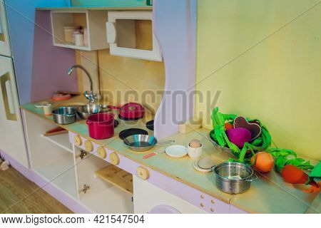 Childrens Plastic Set For Children Kitchen Kettle, Pot And Other Game Elements.