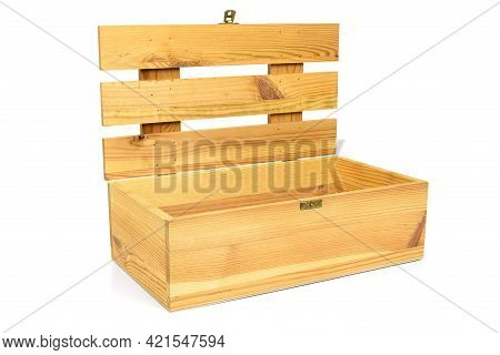 Open Wooden Crate Isolated On White Background With Clipping Path