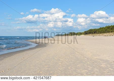 Summer View Of Wide And Sandy Beach At Baltic Sea In Poland