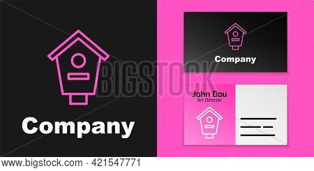 Pink Line Bird House Icon Isolated On Black Background. Nesting Box Birdhouse, Homemade Building For