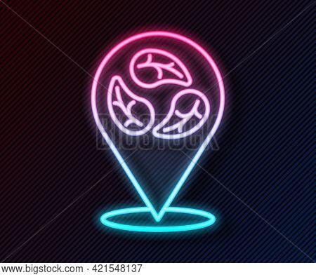 Glowing Neon Line Vegan Food Diet Icon Isolated Glowing Neon Line Background. Organic, Bio, Eco Symb