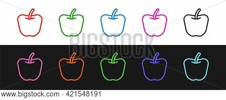 Set Line Apple Icon Isolated Set Line Background. Excess Weight. Healthy Diet Menu. Fitness Diet App