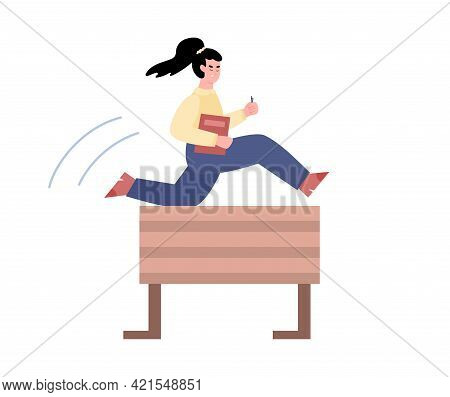 Ambitious Business Woman Jumps Over Obstacle, Flat Vector Illustration Isolated.