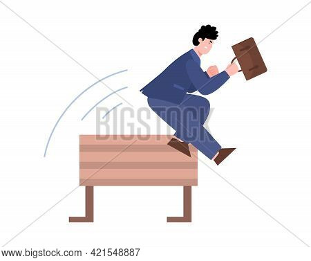 Race Of Leadership And Business Rivalry, Cartoon Vector Illustration Isolated.