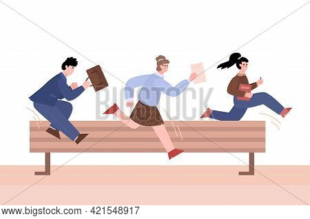 Purposeful Business People Jumping Over Barrier, Vector Illustration Isolated.