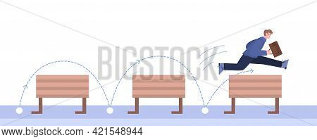 Purposeful Businessman Overcomes Obstacles, Cartoon Vector Illustration Isolated.