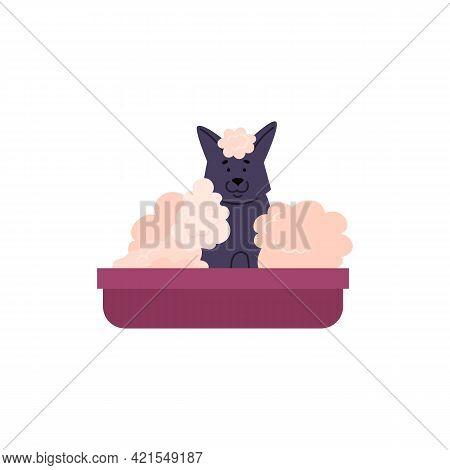 Bathing Dog Cartoon Character Sitting In Bath Flat Vector Illustration Isolated.