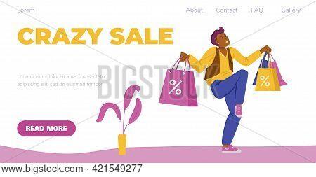 Happy Man Shopaholic, Shopper And Customer Of Retail Shops Enjoy Crazy Sale.