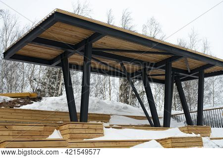 A Massive Wooden Canopy From The Sun, Rain And Snow On The Observation Platform.