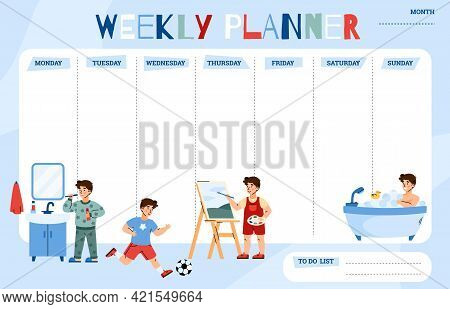 Childrens Weekly Planner Or Todo List Template Flat Vector Illustration.