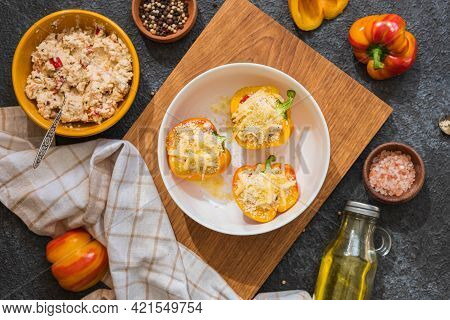 Step By Step Preparation Of Stuffed Peppers With Ricotta Cheese And Vegetables. Recipes For Stuffed