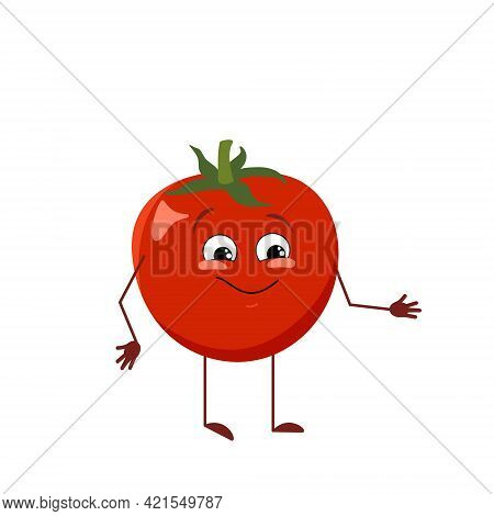 Cute Tomato Character With Joy Emotions, Smiling Face, Happy Eyes, Arms And Legs. A Mischievous Red