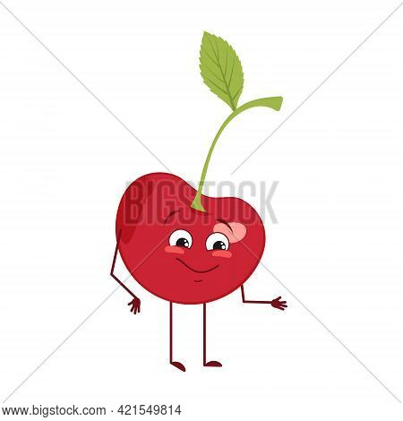 Cute Cherry Character With Joy Emotions, Smiling Face, Happy Eyes, Arms And Legs. A Mischievous Vita