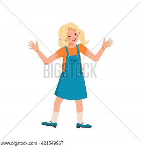 Nice Cute Girl In A Denim Sundress, Shoes With Blond Hair. Happy Smiling Kid Dances, Hugs Hands. Tee