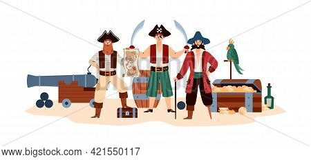Funny Pirates With Treasure Chest And Cannon Flat Vector Illustration Isolated.