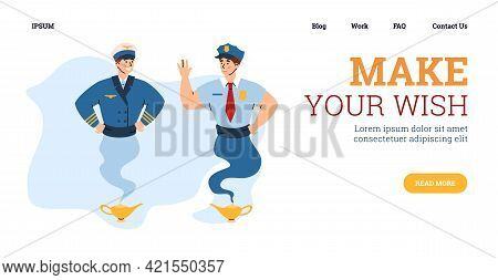 Web Banner With Two Pilots Looking As Genie, Flat Vector Illustration.