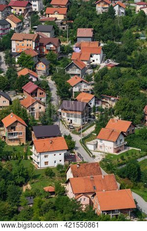 Residential district of Sarajevo city at summer, Bosnia and Herzegovina. Aerial view