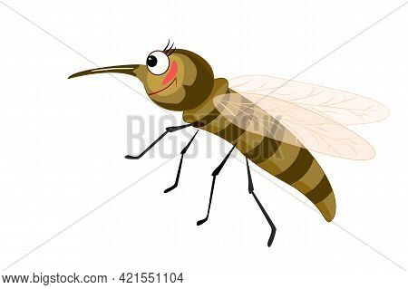 Cartoon Mosquito Isolated On White Background. Mosquito Character With Big Eyes And Long Curved Prob