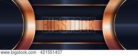 Abstract Navy Background With Overlap Layered Style Concept And Combined With Modern Golden Lines El