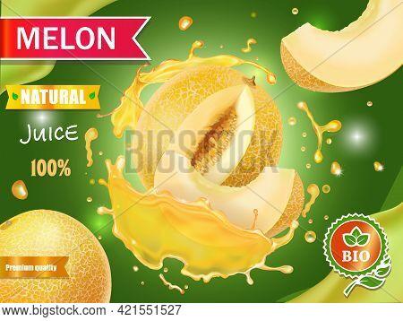 Melon Juice Advertising Honeydew Melon, Whole And Slice In Juice Splash Realistic Vector Illustratio