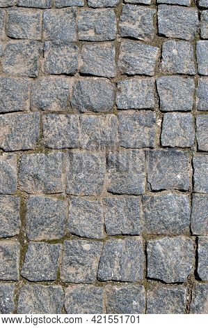 Cobbled Granite Pavement Background, Regular Shapes Of Cobbled Stone Path, Abstract Background Of Ol