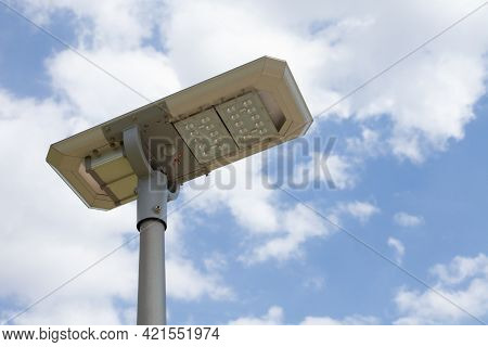 Street Lamp Led With Solar Energy And Blue Sky With Cloud.
