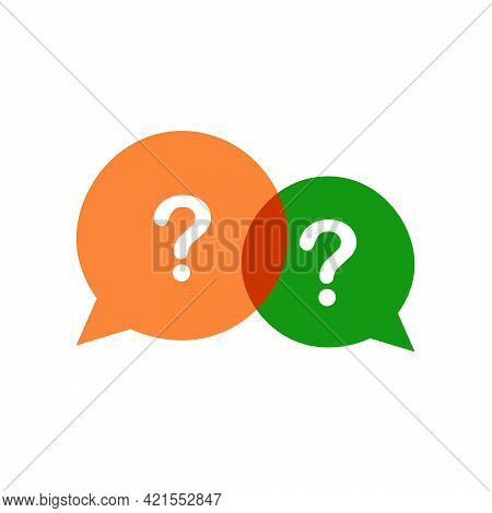 Three Linear Chat Speech Message Bubbles With Question Marks. Forum Icon. Communication Concept. Sto