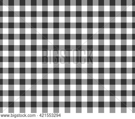 Black And White Gingham Seamless Pattern. Checkered Texture For Picnic Blanket, Tablecloth, Plaid, C