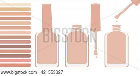 Three Bottles With Beige Varnish, Open And Closed. Nearby Is A Palette With Shades Of Beige. Vector