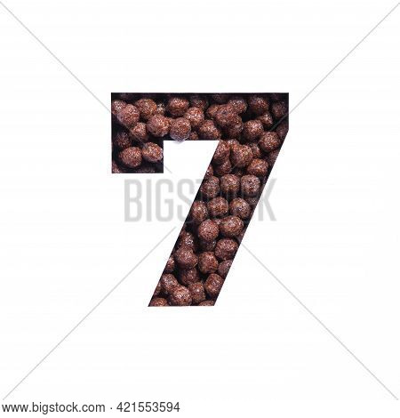Number Seven Of Nutritional Chocolate Cereal Balls, White Cut Paper. Seventh Numeral. Typeface For H