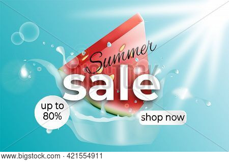 Summer Sale Vector Banner Template. Summer Sale Shop Now Text For Hot Season Discount Promo Up To 80