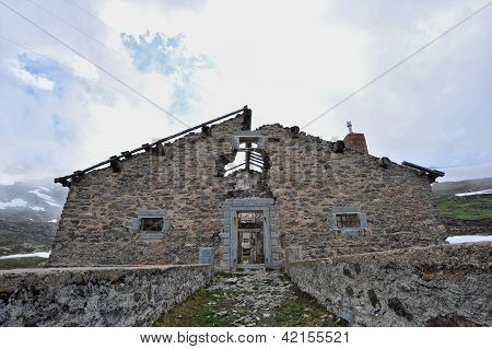 Rests Of Military Barracks In Mountain Over The Col Du Mont Cenis
