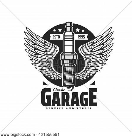 Spark Plug Symbol With Wings, Monochrome Vector Emblem For Classic Garage Service And Repair Station