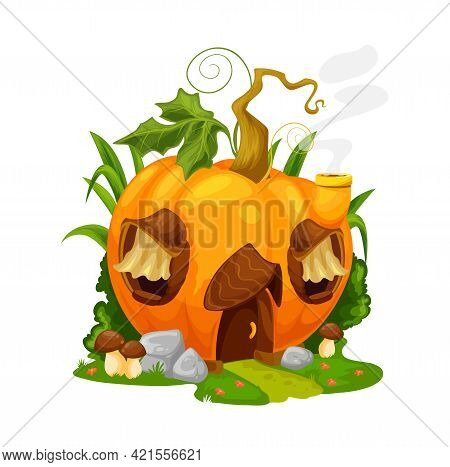 Fairytale Pumpkin House, Vector Gnome Or Fairy Home In Ripe Orange Groud With Wood Door, Curtains On