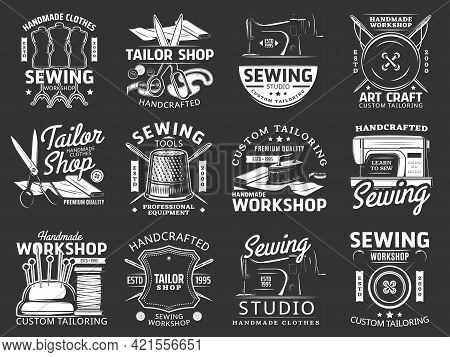 Sewing And Tailor Icons With Isolated Vector Sewing Tools And Equipment. Thread, Needle, Machine And