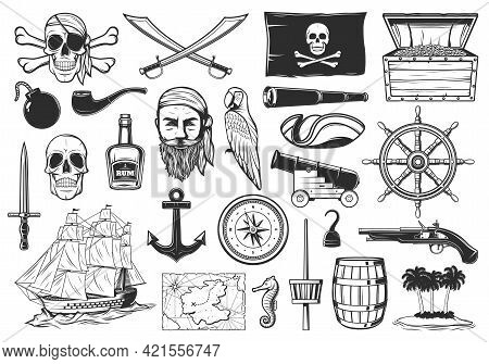 Pirates And Treasures Map Icons, Caribbean Island And Sea Adventure, Vector. Pirates Flag Merry Roge