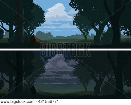 Forest Edge Landscape At Evening And Night, Vector Nature Background With Summer Green Trees And Bus