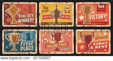 Victory First Place Metal Rusty Plates, Winner Cup Award, Vector Retro Posters. Grand Prix Champion
