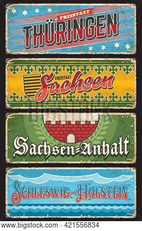 Germany Sachsen Anhalt, Thuringen And Schleswig Holstein Metal Plates, Vector. German Land States An