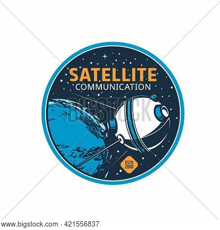 Telecommunication Satellite Vector Icon, Near Earth Shuttle With Long Communication Antennas In Spac