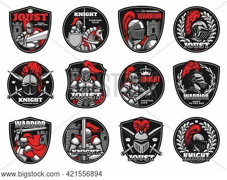 Knights, Medieval Warriors Heraldic Icons, Vector Helmet And Shield Armor Emblems. Medieval Knight W