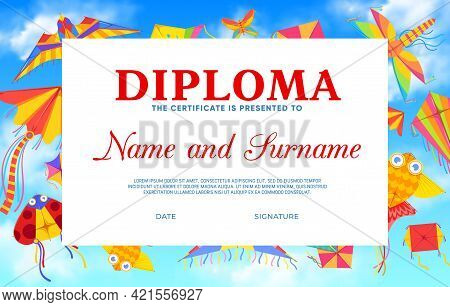 Kids Diploma With Cartoon Kites Vector Template. Education Achievement Certificate, Graduation Diplo