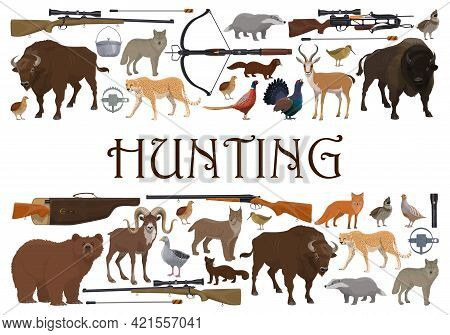 Hunting Sport Animals And Guns, Hunter Weapons And Safari Trophy, Vector. Hunt Open Season Wild Anim