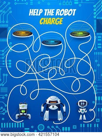Kids Maze Game, Help Robot Charge Playing Activity For Children With Find Path Task. Labyrinth Puzzl