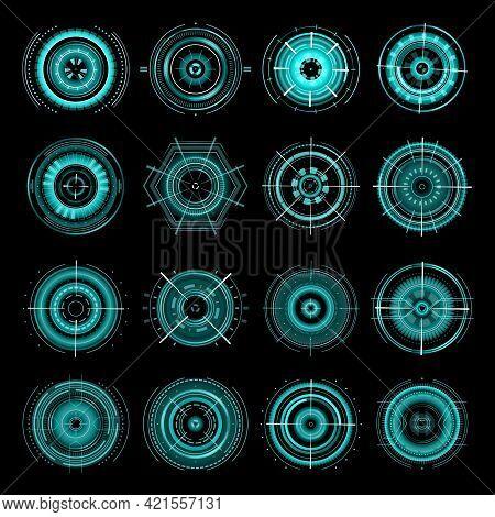 Hud Futuristic Target Aims, Sci Fi Ui Interface Icons Vector Set. Military Optical Aiming, Spaceship
