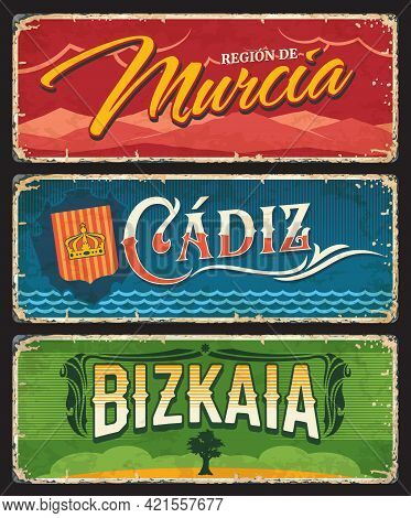Spain Murcia, Cadiz And Bizkaia Metal Plates And Tin Signs, Vector City Entry Signage. Spain Welcome