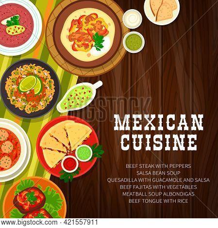 Mexican Food Restaurant Meals Menu Cover. Albondigas Meatball, Salsa Bean And Chili Soup, Fajitas An